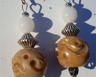Stone bead earrings