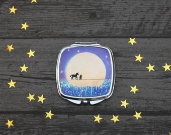 Unicorn Friend, Compact Mirror, Unicorn gift, Fantasy Art, UK Seller.
