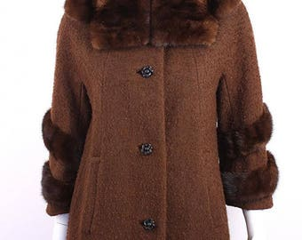 1960's Lilli Ann Brown Nubby Wool Boucle Coat with Fur Mink Collar and Fur Chevron Cuffs  S/M