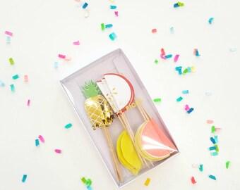 Meri Meri fruit picks (12). pineapple party supplies. pineapple party plates. flamingo plates. party like a pineapple. pineapple