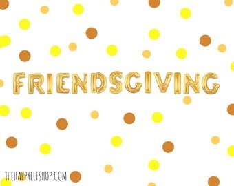 "16"" FRIENDSGIVING balloons/banner. THANKSGIVING decor. thanksgiving party supplies. thanksgiving balloons. Santa balloons. Christmas"