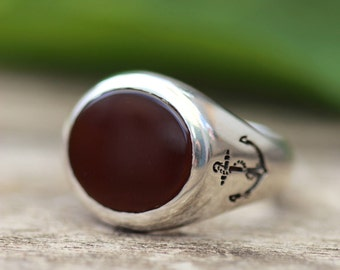 Carnelian Signet Ring, Anchor Ring, Buff Top Ring