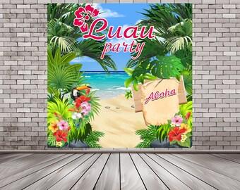 Hawaiian Luau Party Backdrop, Tropical Backdrop, Paradise Theme, Luau Photo Booth, Luau Party Decor, Luau Party Supplies, Luau Printable