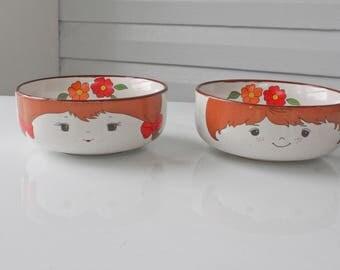 Vintage Interpur Korean Stacking Boy and Girl Stoneware Bowls Replacements-Bowl-Child's Stacking Set
