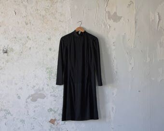 Vintage Black Dress 70s 1970s Minimalist Dress - Small Medium