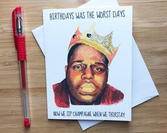 Notorious B.I.G Birthday Card, Biggie Smalls, Hip Hop Music, Rap Birthday Card, Tupac Shakur, Snoop Dogg, Notorious BIG Gift, Biggie Art