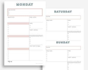 The Daily Planner | Undated + Editable | Half Letter Size | Day Planner | Printable Planner | Goal Planner | Eowyn Collection