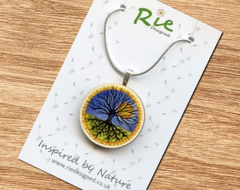 Tree of Life Pendant, Wooden Tree Necklace Wood Nature Symbol Gift