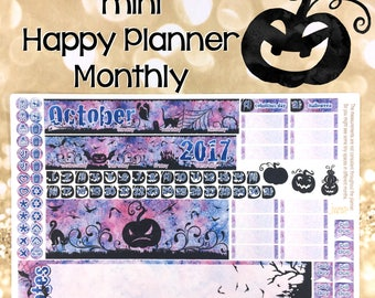 October Halloween Mini Happy Planner MONTHLY view spread stickers - MAMBI fall autumn