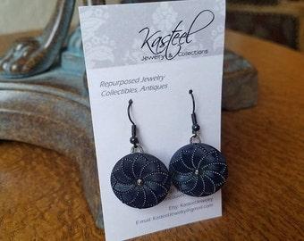 Black glass button earrings