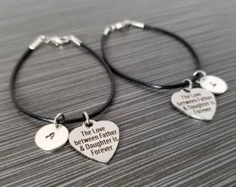 Two Cord Charm Bracelets - Cord Bracelet - Black Bracelet - Father Daughter Gift - Gift from Dad - Gift for Daughter - Grad Gift - Birthday