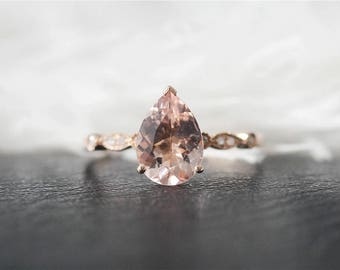 14K Rose Gold 7x10mm Pear Cut Morganite Engagement Ring Stackable Art Deco Morganite Ring Unique Wedding Ring Anniversary Ring Promise Ring