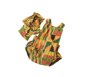 African Kente Baby Romper, Black History Month, Girls Romper, Head Wrap, Hair Bow, Africa Baby Clothes, Africa Clothing, Newborn Romper