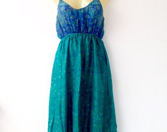 Dress made from Up Cycled Silk Saris from India //Blue Dress // Large Dresses// Summer Dress // Tank Dress