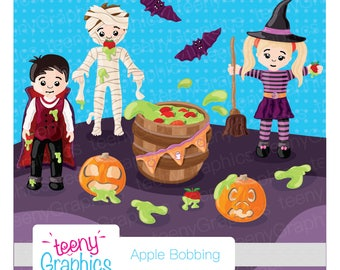 Halloween Clip Art,Apple Bobbing Fun,Small Commercial Use, Digital clipart,Vector,Downloads,Scrap booking, Vampire- clip03
