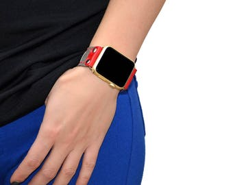 Leather apple watch band 42mm / 38mm // Dark Gray iwatch band - apple watch accessories - apple watch strap leather - rose gold lugs adapter