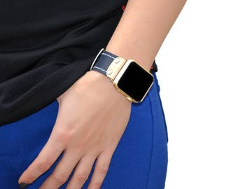 Leather apple watch band 42mm / 38mm // Blue iwatch band - apple watch accessories - apple watch strap leather - rose gold lugs adapter