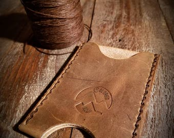 Tan Leather Wallet - Front Pocket Wallet - Brown Leather Wallet -  Horween Leather - Slim Wallet - Minimalist - Made to Order - Colorado