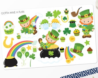 Planner Stickers Saint Patricks Day for Erin Condren, Happy Planner, Filofax, Scrapbooking