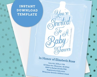 Editable Baby Shower Template, Bottle, DIY Instant Download PDF, Baby Boy, Blue Invite, Watercolor Invitations, Printable, Sprinkle, PH_05