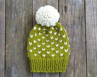 Slouchy Beanie, Knit Hat, Toque, Pom Pom Hat, Fair Isle Hat, Fairbanks Beanie - in Lemongrass