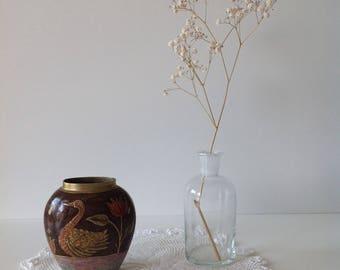 Duck decor enameled brass vase