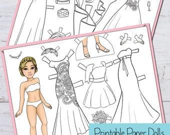 Wedding Paper Dolls PDF - printable paper dolls - instant download