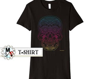 Day of the Dead Shirt - Sugar Skull Shirt in Rainbow on Black - Dia de los Muertos Shirt Mexican Art Clothing - Women's Medium T-Shirt