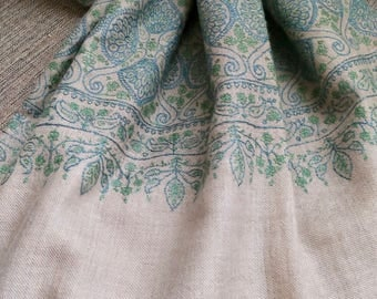 Pashmina Shawl JALI Embroidery Natural Gray