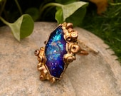 8.5 / Galactic Purple Electroformed Electroplated Copper Resin Alien Galaxy Ring