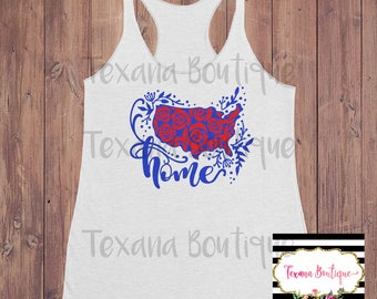 Floral tank top, america tank top, 4th of july shirt women, 4th of july tank, independence day tank, red white and blue shirt, womens tshirt