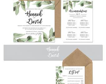 Botanical Leaves Square Wedding Invitation 'RSVP' 'Save the Date'