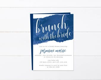 Bridal Shower Invitation Printable, Printed Wedding Shower Invitation, Navy Blue Watercolor Invites, Brunch with the Bride, Thank You Cards