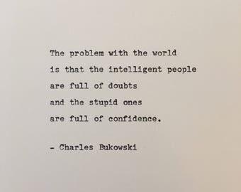 Charles Bukowski quote hand typed on antique typewriter scrapbooking