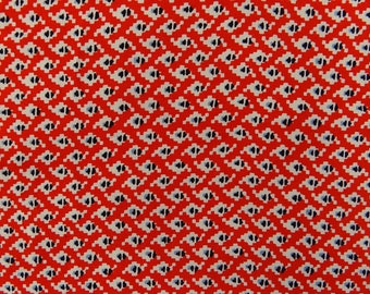 "Houndstooth Print, Orange Fabric, Dress Fabric, Sewing Material, Ethnic Fabric, 52"" Inch Rayon Fabric By The Yard ZBR600A"