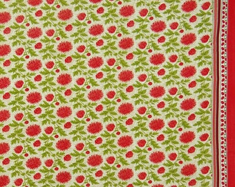 """Floral Print, Beige Fabric, Quilting Fabric, Sewing Crafts, Ethnic Fabric, 43"""" Inch Cotton Fabric By The Yard ZBC9153A"""