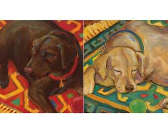 Set of 2 - Vintage UNFRAMED Retriever Dog Art Prints, Before Playtime & After Playtime by Karen Dupre, Dog Art, Labrador Art, Retriever Art