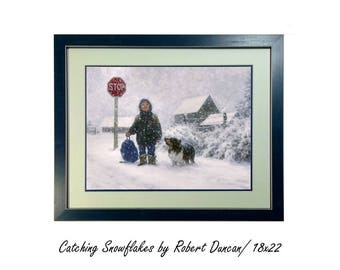 Catching Snowflakes Art Print by Robert Duncan, Framed & Matted, Child Stop Sign Catching Snow, Winter Art, Snow Scene, Christmas