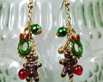Gingerbread Man Christmas Earrings
