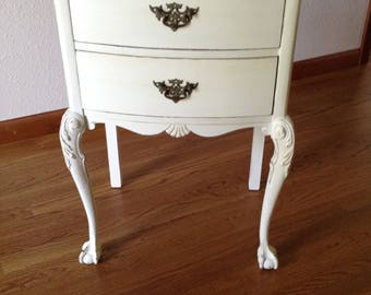 Vintage End Table, Night Stand, Shabby Chic, Painted Table, Ball Claw Foot, Carved Legs