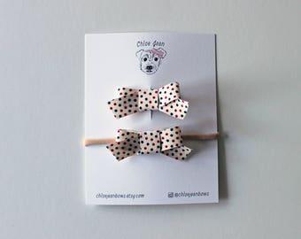 The Lucy Mini Patriotic Dot Ribbon Bow Clip or Nylon Headband | Baby Bows, Toddler Bows, Toddler Hair Clip, Polka Dot Bows, Preppy Bows