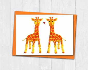 Giraffe love card, Giraffe valentines card, Cute giraffe anniversary card, Personalised love card, Cute giraffe valentines day card