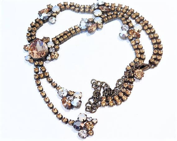 TIARA MISU Contemporary Fashion Designer Signed Rhinestone Necklace Lariat Miss Ellie NYC Mid Century Hollywood Regency Inspired Revival