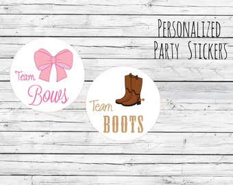 Team Boots or Team Bows Gender Reveal Party Stickers Team Boy, Team Girl, Baby Shower Voting, Favor Tags, Labels, You Choose Size