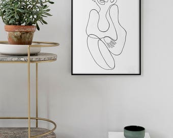 Modern Giclee Art Print, Scandinavian style, One line minimal art, Large print on canvas and paper, Fine Art Minimalist style