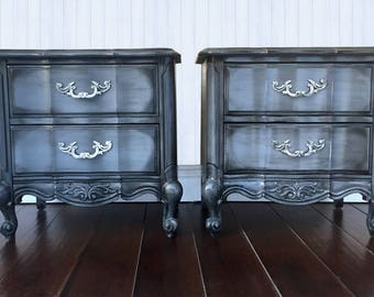 French Provincial Nightstands, Shabby Chic Nightstands, Painted Furniture, Hand Painted, Romantic, Boho, Cottage Chic