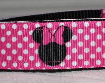 "Fun Pink Minnie Dog Collar - Choose Side Release Buckle or Martingale  (1"" Width) - Martingale Option Available"