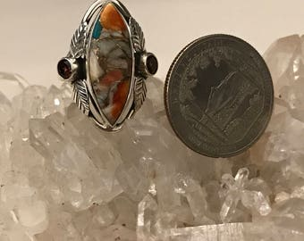 Spiny Oyster & Arizona  Turquoise and Garnet Size 6