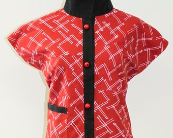 Red Asian Inspired Cotton Vest - FA16-4816