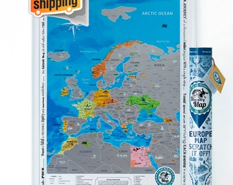 Scratch off Europe Map. ORIGINAL - from Manufacturer. Large Size, Superdetailed, Gift for Traveller, English